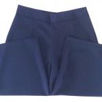 กางเกงห้าส่วนผ้าฮานาโกะ ขาบานเอวสูง สีกรม Size S M L XL