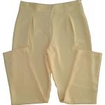 กางเกงขาเดฟเอวสูงจีบทวิตหน้า ผ้าฮานาโกะ สีเหลืองครีม Size S M L XL สำเนา