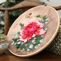 งานปักริบบิ้น By Easy DIY ครอสติสคริสตัล (Ribbon stitch/embroidery)