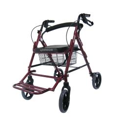 รถเข็นช่วยเดิน Rollator รุ่น 46L สีแดง หัดเดิน พยุงเดิน พร้อมที่พักขา เหมาะกับผู้ป่วย ผู้สูงอายุ