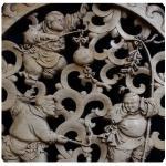 แผ่นไม้แกะสลักศิลปะจีน 26.5cm.