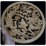 แผ่นไม้แกะสลักศิลปะจีน-หงส์ มังกร 26.5 cm.