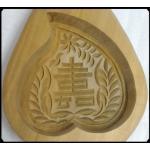 พิมพ์ขนมไม้แกะศิลปะจีน-ลายลูกท้อ(ทรงหัวใจ)สัญลักษณ์มงคล