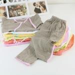 ชุดเสื้อสาลูแขนสั้นและกางเกงขายาว Size S