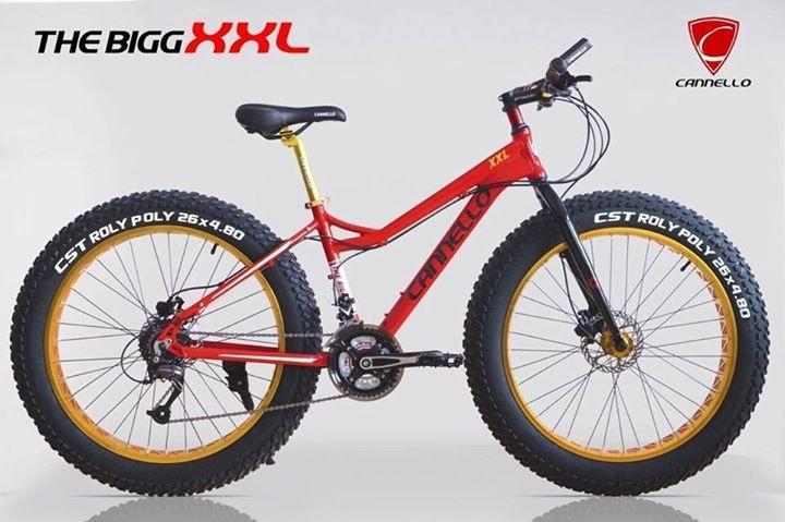 จักรยานล้อโต Cannello The ฺBigg XXL สีแดง เฟรมอลูมิเนียม ชุดเกียร์ Shimano 27 Speed ดิสก์เบรคน้ำมัน ล้อขนาด 26x4.8 นิ้ว แฮนด์และหลักอานอะโนไดซ์
